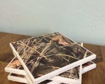 Camouflage tile coaster~man cave~hunting camo