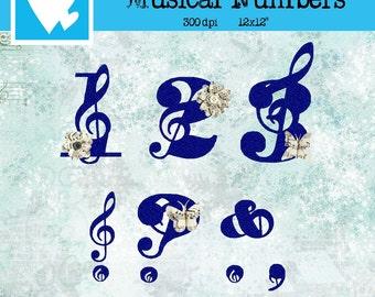 21 Musical Numbers and Special Symbols Vectors: digital felt like material blue color Clip Art Digital Scrapbooking