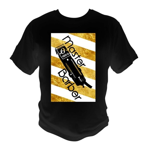 Master Barber black T-Shirt White Gold Barber Pole Oster 76 Clippers