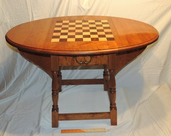 Chess Table   Cherry Wood End Table Or Game Table With Drawer