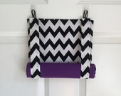 ROMAN SHADE/CURTAIN for Teacher Classroom Door - Privacy/Safety/Lockdown - Black Chevron with Purple