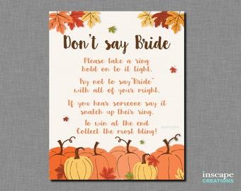 Don't Say Bride Game Printable, Pumpkin Don't Say Bride Sign, Little Pumpkin, Fall Bridal Shower Game, Rustic Bridal Shower, Autumn Shower