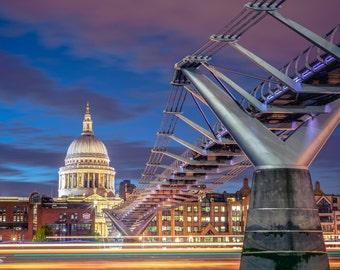 St Paul's Cathedral Millennium Bridge London Landmark colour photo print - FREE SHIPPING - Limited Edition - Cityscape - Fine Art Print