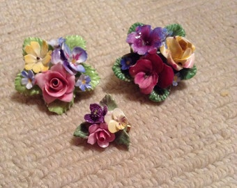 English China broach by Denton made in Staffordshire set of 3