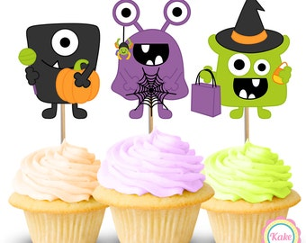 Halloween cupcake toppers monsters printed centerpiece, character cake toppers, birthday party, favors decorations supplies QTY 9 - E20