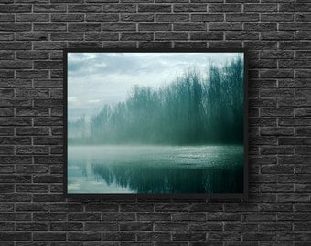 Forest Lake Photo - Foggy Forest - Forest Landscape - Misty Landscape - Green - Fog - Forest Print - Forest Wall Art - Forest Wall Decor