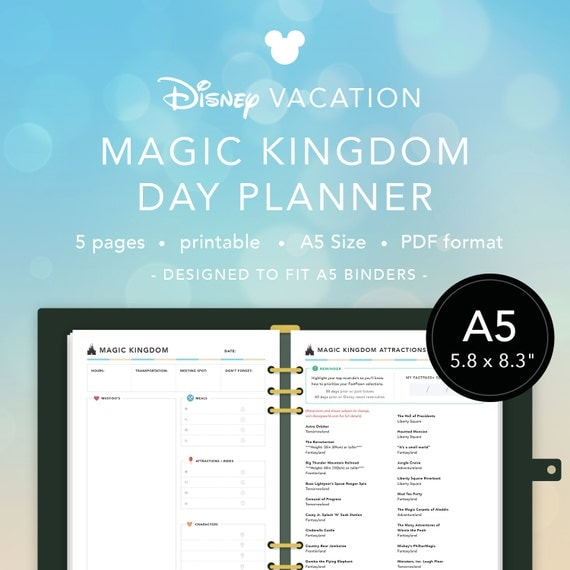 A5 Printable Planner Inserts Disney Vacation Magic Kingdom