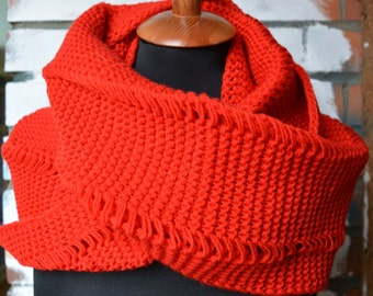 Hooded Scarf / Circle Scarf / Red Infinity Scarf / Color Red / Hand Knit / Soft & Cozy