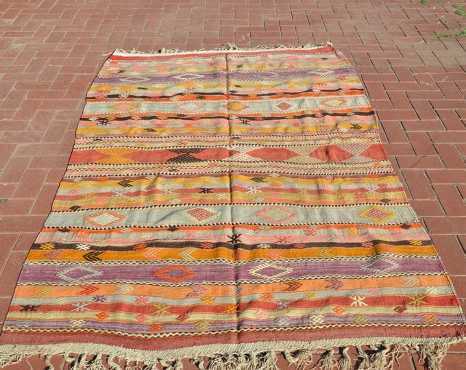 CHRISTMAS SALE %7 Pastel Kilim Rug Kilim Ottoman Kilim rug Bohemian Furniture Boho Rug Floor Rug Turkish Rug Tapis Kilim Kelim Rug