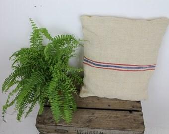 Striped Hessian Sack Cushion/Upcycled Cushion/ Handmade Cushion/Striped Cushion/Repurposed Sack Cushion (0019M)