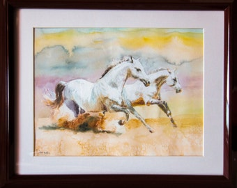 Two Galloping Horses (Horse Set 3/5) - Original Watercolour Painting on Paper