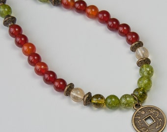 Money Necklace,Citrine,Peridot,Carnelian ,gemstone Mala Necklace,Boho necklace,Zen necklace,lucky coin necklace,Buddhist jewelry,japa mala,