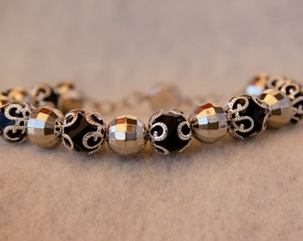 Black Crystal and Silver Crystal Bead Bracelet #26014