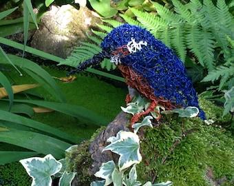 Gift. Sculpture. Kingfisher wire sculpture. Fishing Gift. Bird. Garden decor. Garden statue. Garden ornament.. Garden decoration