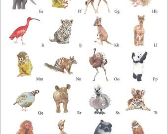 Nursery Animal Alphabet Art Print by Lynn Wells