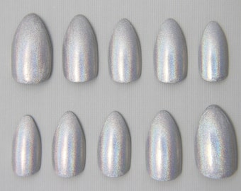 Almond Silver Holographic Nails | Press On Nails | Fake Nails | False Nails | Glue On Nails | Acrylic Nails | Handpainted