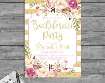 Bachelorette Party Invitation Printable, Bachelorette party invitation, Gold Bachelorette Party invitations,Girls night out, Diy Printable