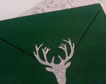 20 Glitter Gold or Silver Christmas Reindeer Stickers, Holiday Envelope stickers, Envelope Seals, gift packaging, glitter Stickers, adhesive