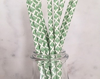 Green Damask Paper Straws (25)