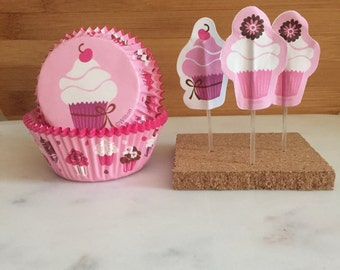 Pink Cupcake Lovers Kit, Liners and Toppers, Decorating Kit (24)