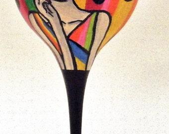 Hand painted Pop art wine glass