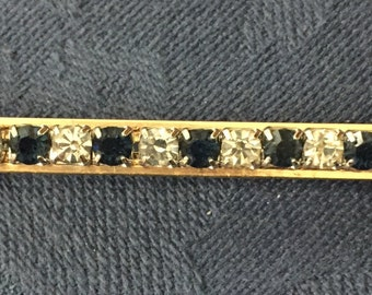 Vintage 1980's faux diamond and faux Saphire Bar Pin Brooch
