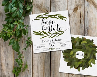Save the Date - Magnolia Save the Date - Southern Save the Date - Southern Bride - Leaf Wreath Save the Date - Custom Wedding - PRINTABLE