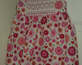 Smocked sundress for toddler girls, jumper