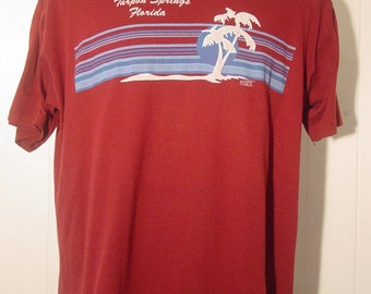 Vintage 1980s t-shirt Tarpon Springs Florida palm trees XL