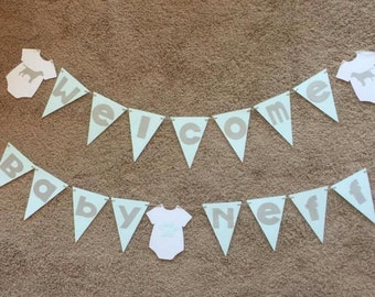 Welcome Baby Boy Baby Shower Banner (Blue, Gray, & White)