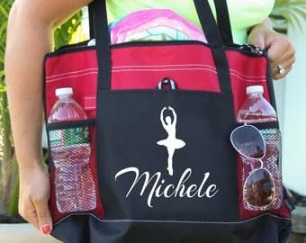 Ballet Tote Bag,  Dance Bag Girl, Ballerina Bag, Ballerina Canvas Heavy tote bag  zippered, Heavy canvas Carryall,