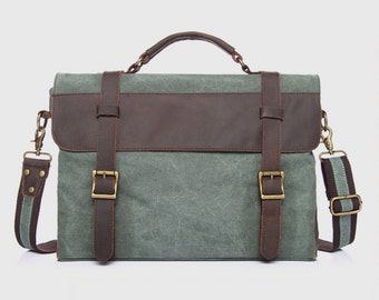 Waxed Canvas Messenger Bag / Leather Messenger Bag / Laptop Messenger Bag / Men Messenger Bag / Father's Day Gifts / Satchel / Briefcase men