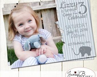 Girl Birthday Invitation with Picture, Elephant Birthday Invite