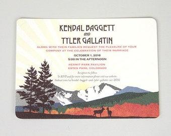 Fall Longs Peak Colorado Mountain Wedding Invite // 5x7 Wedding Invitation with A7 Envelope
