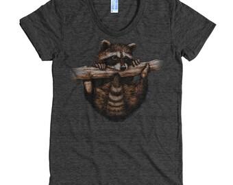 Hanging Raccoon T Shirt - Wildlife Tee Shirt  - Hand Drawn Animal Shirt - Women's American Apparel T Shirt - Item 1022