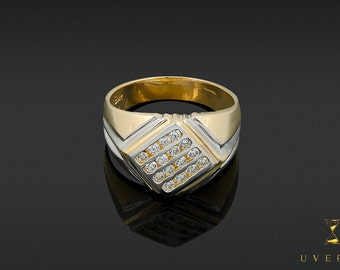 14k Solid Yellow Gold Men's Diamond Set Sparkling Ring Uverly Jewelry