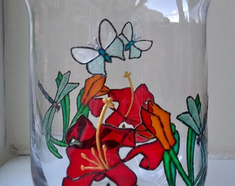 Painted Glass vase Flower with dragonfly and butterfly