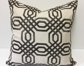 Embroidered Geometric Designer Pillow in Dark Chocolate on Linen.