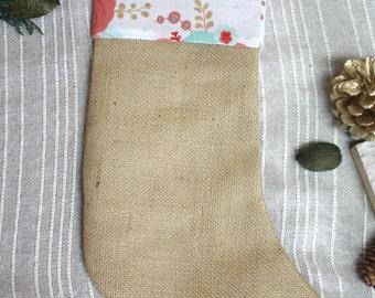 Christmas Stocking, Burlap Stocking, Custom Stocking, Stocking, Pink Stocking, Holiday Stocking, Flowers