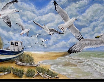 """Acrylic painting, seascape, fishing boat on the sand, flight of gulls over the beach"" beach to the seagulls """