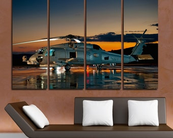 Helicopter Wall Art Multi Panels Set Sikorsky Wall Art  Canvas Art Aircraft Wall Helicopter Print Poster