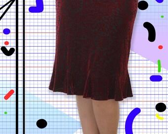 Knee Length Red Velvet Burnout Flared Skirt