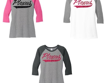 Glitter Plexus 3\4 Raglan Sleeve Shirt, Plexus Shirt, Plexus