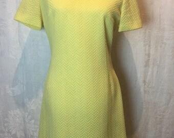 43. SOLD - VINTAGE- Yellow Sheath Dress