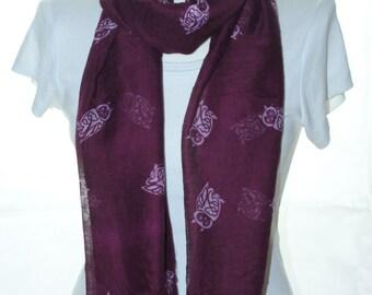 Maroon owl bird Scarf shawl, Beach Wrap, Cowl Scarf,owl print scarf, cotton scarf, gifts for her