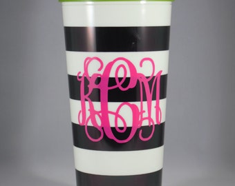 Kate Spade Cup with Vinyl Monogram, Monogram Decal in Vine or Circle Kate Spade Monogrammed Tumbler, Monogrammed tumblers.  Gift for her
