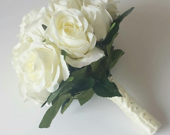 Ivory Rose Hand Tied Bridal Bouquet