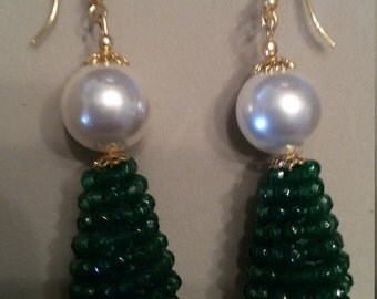Green Crystal and Pearl Earrings in the midst of Majorca