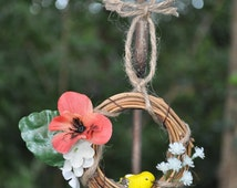 Mini Fall Silk Flower Grapevine Wreath, Autumn, Floral, Pansy, Apple Blossom, Bird,  Fall Wreath, Floral Wreath
