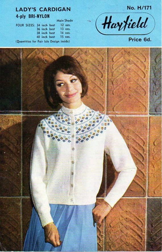 Womens fair isle cardigan knitting pattern pdf ladies fairisle